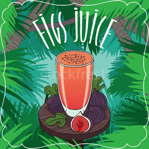 Fresh fig fruit or figs juice in glass Stock photo © alexanderandariadna