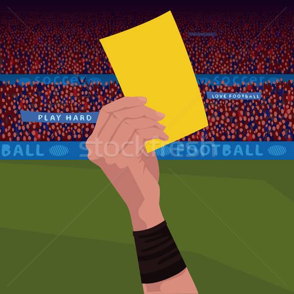 Close up hand holding yellow card Stock photo © alexanderandariadna