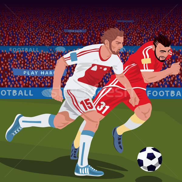 Fútbol jugadores diferente equipos fútbol dos Foto stock © alexanderandariadna