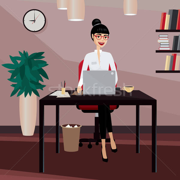 Business woman working at workplace Stock photo © alexanderandariadna