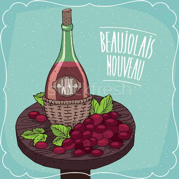 Still life with red wine and grape Stock photo © alexanderandariadna