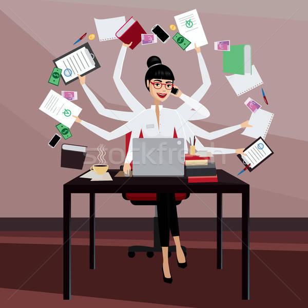 Occupés femme d'affaires multitâche travail travail affaires Photo stock © alexanderandariadna