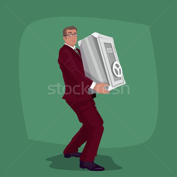 Boldog üzletember szállít acél széf előleg Stock fotó © alexanderandariadna