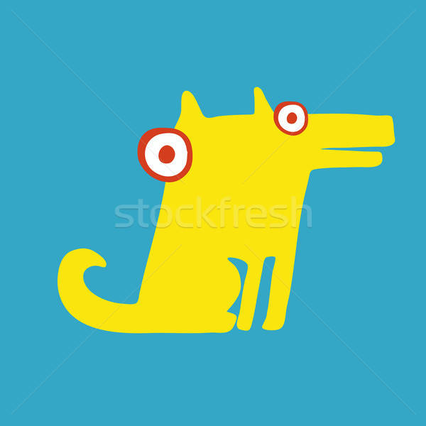 Funny yellow dog sitting on its hind legs Stock photo © alexanderandariadna