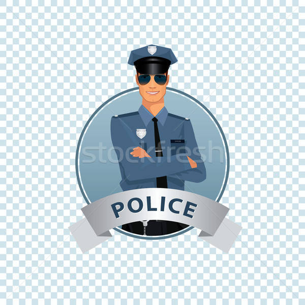 Round icon on white background with policeman Stock photo © alexanderandariadna