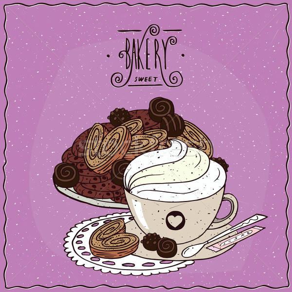 Taza café muchos cookies galletas diferente Foto stock © alexanderandariadna