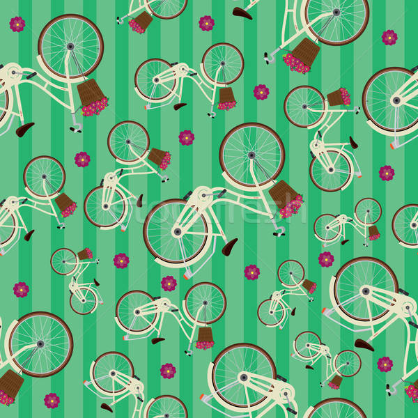 Seamless striped green pattern with bicycles Stock photo © alexanderandariadna