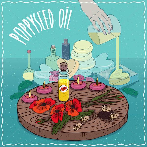 Poppyseed oil used for soap making Stock photo © alexanderandariadna