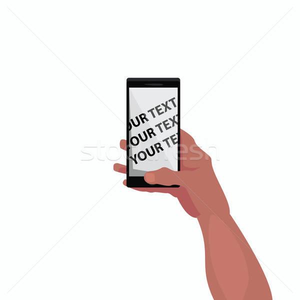 Vázlat képernyő okostelefon kéz izolált tart Stock fotó © alexanderandariadna