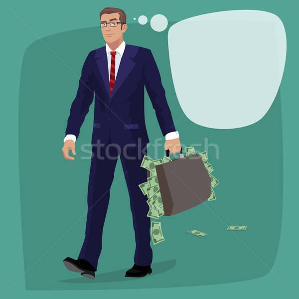 Geïsoleerd man aktetas vol cash geld Stockfoto © alexanderandariadna