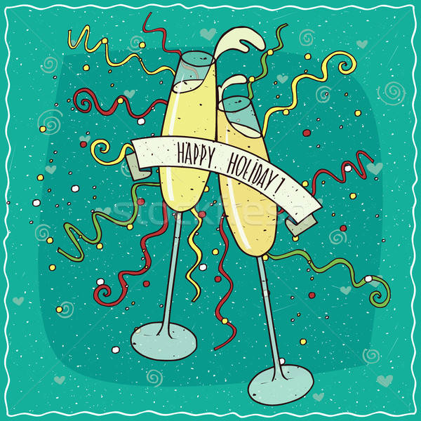 Toast champagne bicchieri di vino occhiali vino aria Foto d'archivio © alexanderandariadna