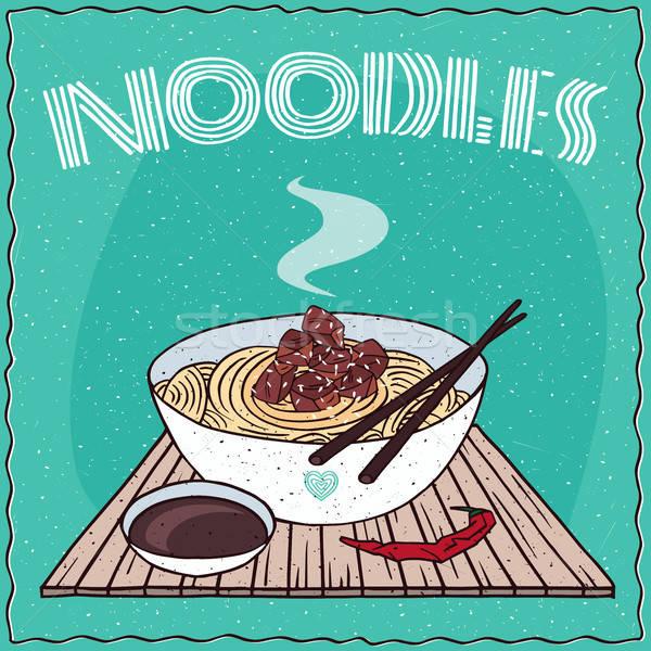 Asian noodles Ramen or Udon with beef Stock photo © alexanderandariadna