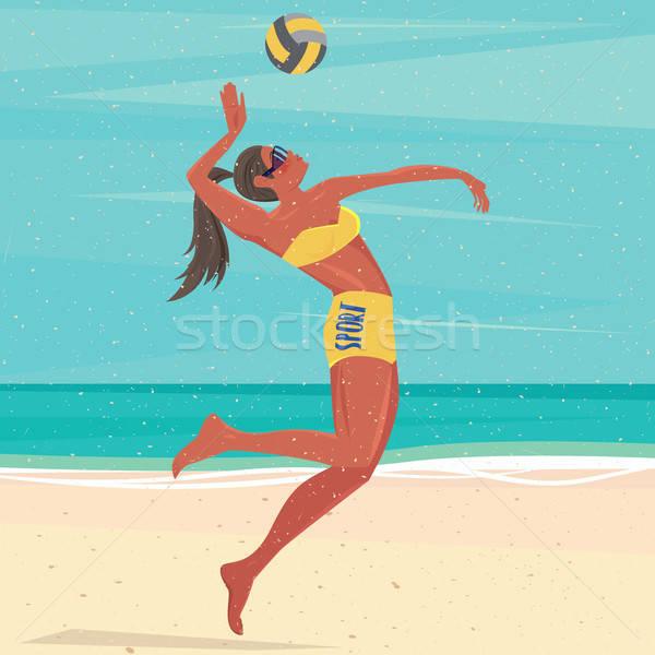Lány játszik labda tenger röplabda játékos Stock fotó © alexanderandariadna