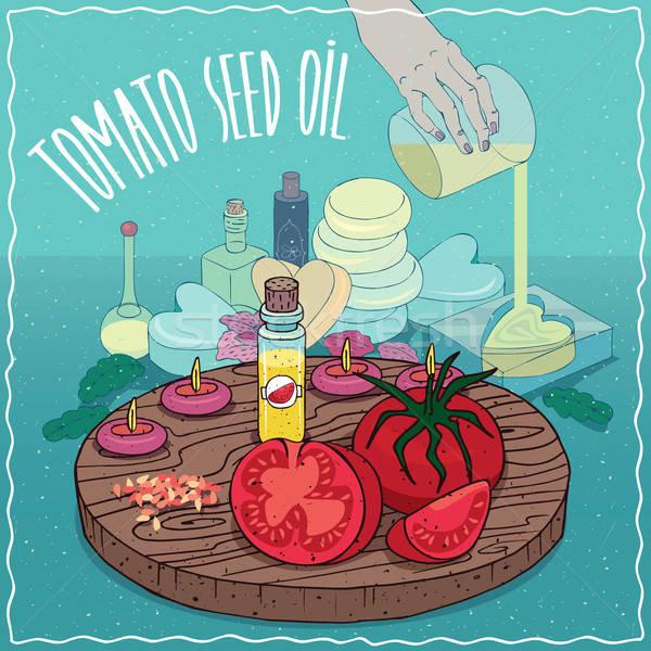 Tomates semente Óleo usado sabão Foto stock © alexanderandariadna
