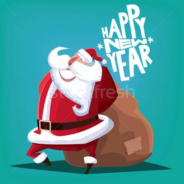 Stok fotoğraf: Happy · new · year · noel · baba · hediye · çanta · tebrik · kartı · mavi