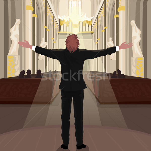 Stock photo: Pastor in Church calls parishioners to pray