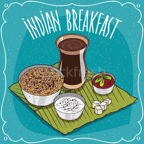 Indian breakfast with muesli or oatmeal Stock photo © alexanderandariadna