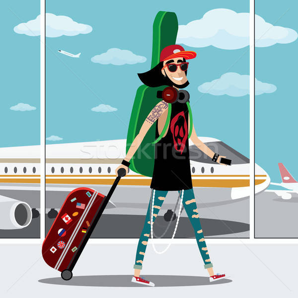 Rock musicista aeroporto aereo valigia strumento musicale Foto d'archivio © alexanderandariadna