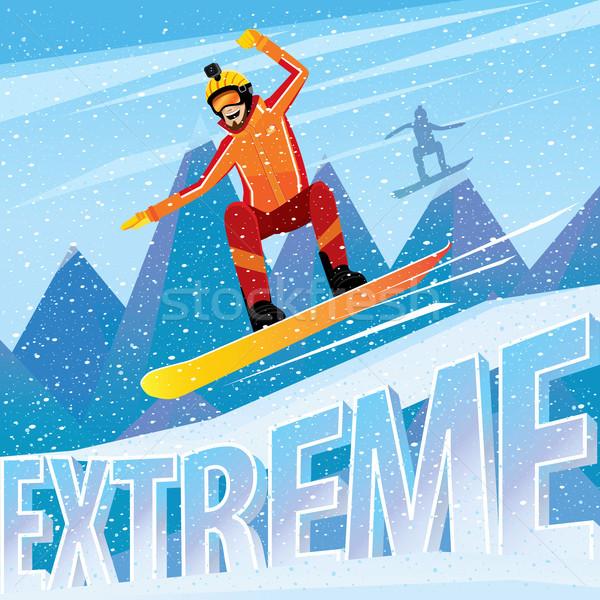 男 ジャンプ 山 スノーボード 極端な スポーツ ストックフォト © alexanderandariadna