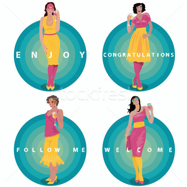 Set of round stickers with toasting girls Stock photo © alexanderandariadna