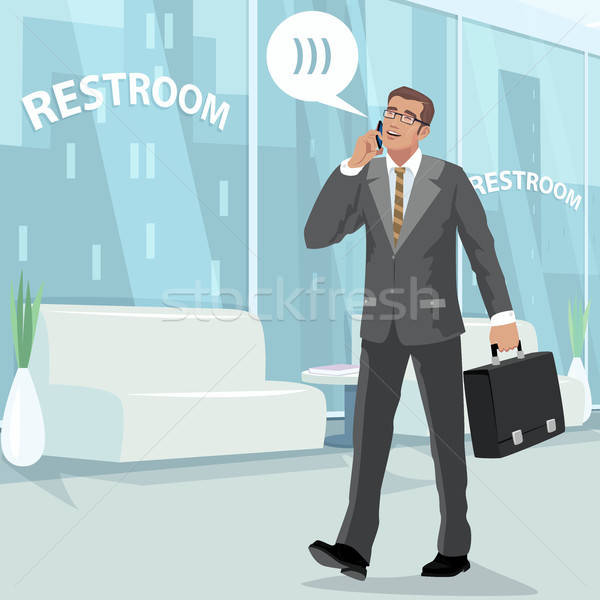 Heureux affaires toilettes travaux jeunes gris Photo stock © alexanderandariadna