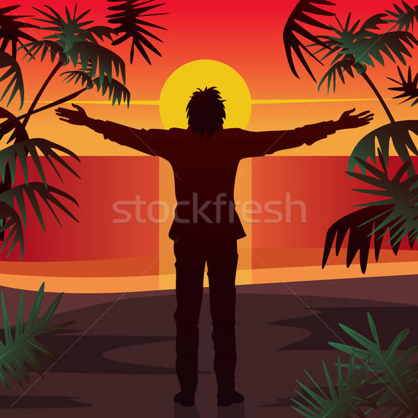 Man stands at sunset with open arms outstretched Stock photo © alexanderandariadna
