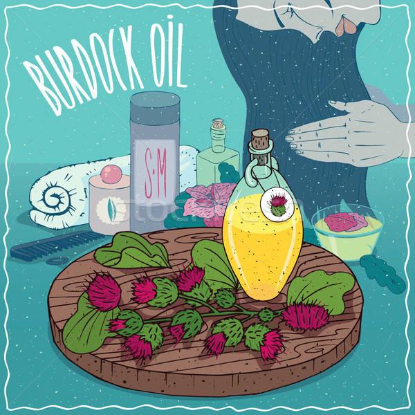 Burdock oil used for hair care Stock photo © alexanderandariadna