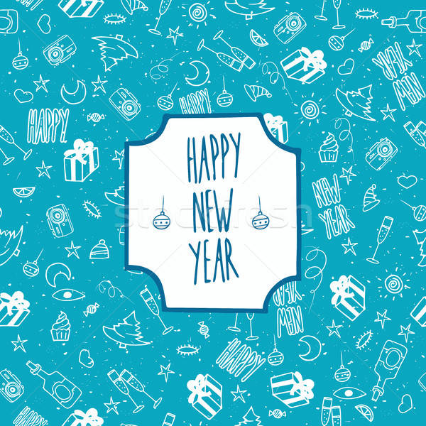 ünnepi minta boldog új évet karácsony végtelenített vektor Stock fotó © alexanderandariadna