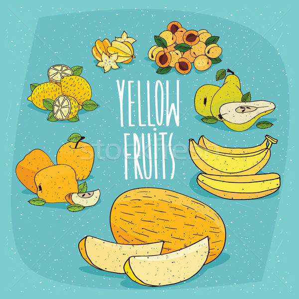 セット 孤立した 食品 製品 黄色 果物 ストックフォト © alexanderandariadna