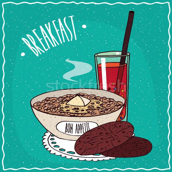 Bowl of muesli with oatmeal cookies and juice Stock photo © alexanderandariadna