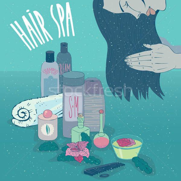 Menina cabelos longos condicionador xampu cabeça Foto stock © alexanderandariadna