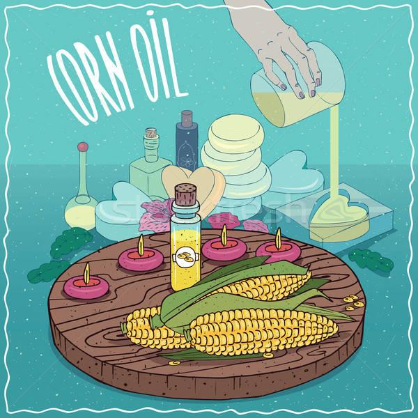 кукурузы нефть используемый мыло стекла Сток-фото © alexanderandariadna