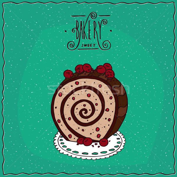 Biscuit rollen Rood bessen servet feestelijk Stockfoto © alexanderandariadna