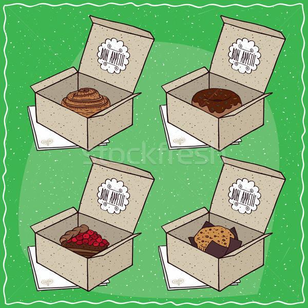 Confeitaria conjunto cartão caixas canela rolar Foto stock © alexanderandariadna