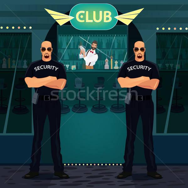 Foto stock: Pie · entrada · club · nocturno · dos · grande · calvo