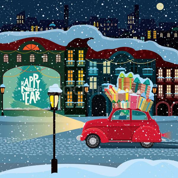 Karácsony utolsó perc retro autó ajándékdobozok Stock fotó © alexanderandariadna