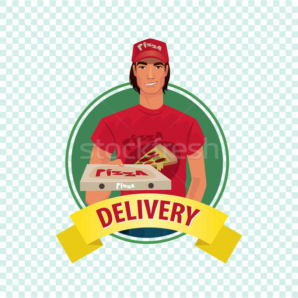 Round icon on white background with pizza courier Stock photo © alexanderandariadna