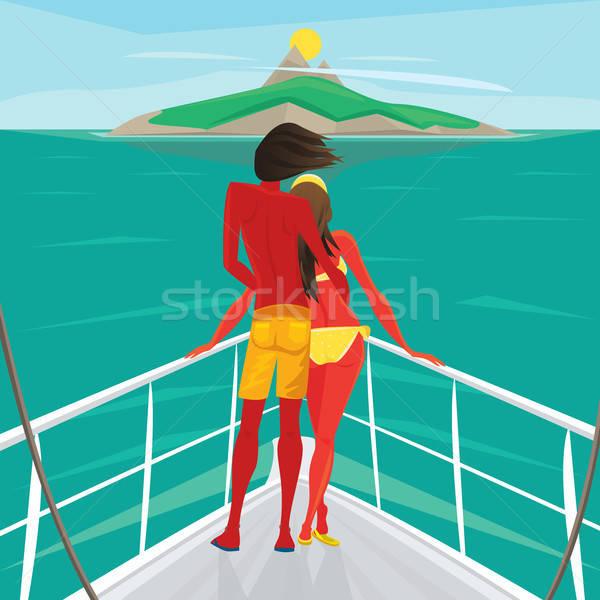カップル 立って ヨット 感心する 島 ストックフォト © alexanderandariadna