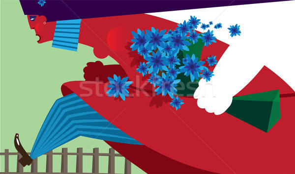 Cartoon female with flowers Stock photo © alexanderandariadna
