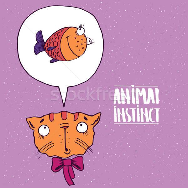 Hayvan içgüdü kedi balık sevimli yay Stok fotoğraf © alexanderandariadna