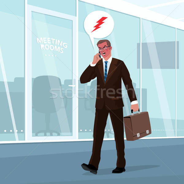 Angry businessman swears by phone in office Stock photo © alexanderandariadna