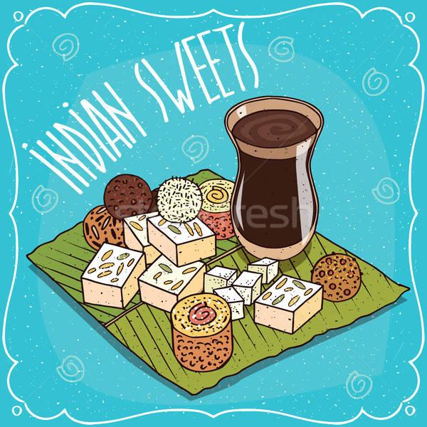 Traditional Indian sweets and masala chai tea Stock photo © alexanderandariadna