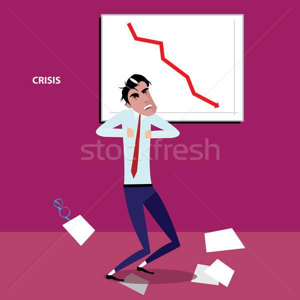 Angry businessman with negative graph Stock photo © alexanderandariadna