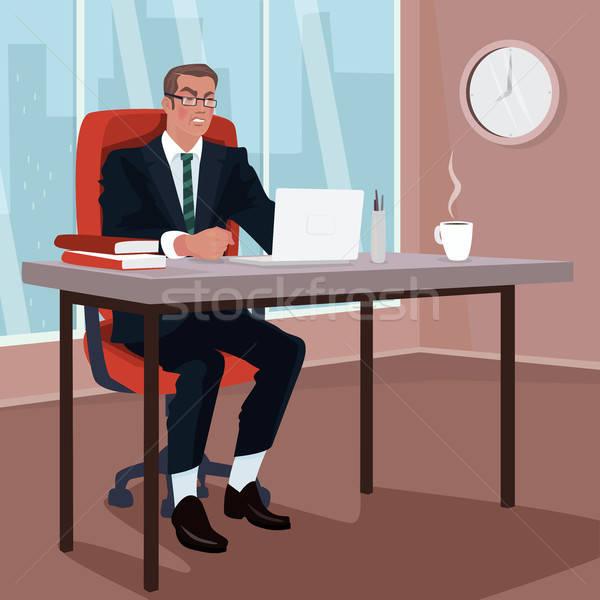 Angry businessman in office Stock photo © alexanderandariadna