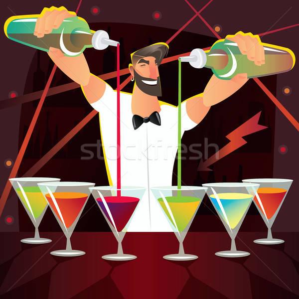 Fun bartender preparing several cocktails at party Stock photo © alexanderandariadna