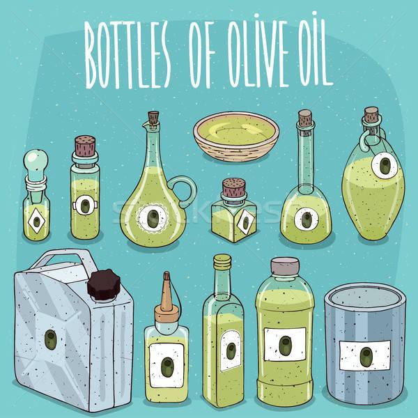 Szett olívaolaj különböző átlátszó anyagok olaj Stock fotó © alexanderandariadna