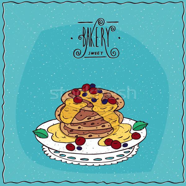 Pancakes with honey and red berries Stock photo © alexanderandariadna