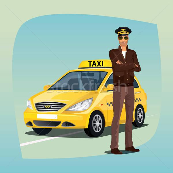 Unshaved taxi driver with yellow car Stock photo © alexanderandariadna