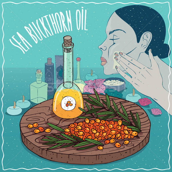 Mar petróleo utilizado cuidado de la piel vidrio frutas Foto stock © alexanderandariadna