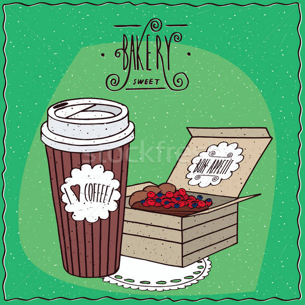 Stockfoto: Koffie · papier · beker · bes · taart · karton